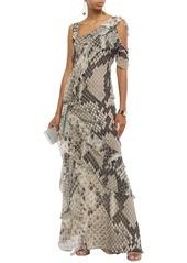 Roberto Cavalli Woman Cold-shoulder Ruffled Snake-print Silk-chiffon Maxi Dress Mushroom