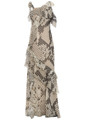 Roberto Cavalli Woman Cold-shoulder Ruffled Snake-print Silk-chiffon Maxi Dress Mushroom