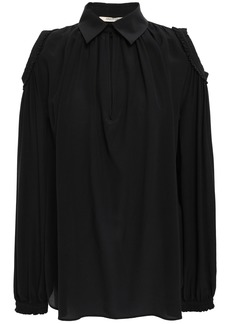 Roberto Cavalli Woman Cold-shoulder Silk Crepe De Chine Blouse Black