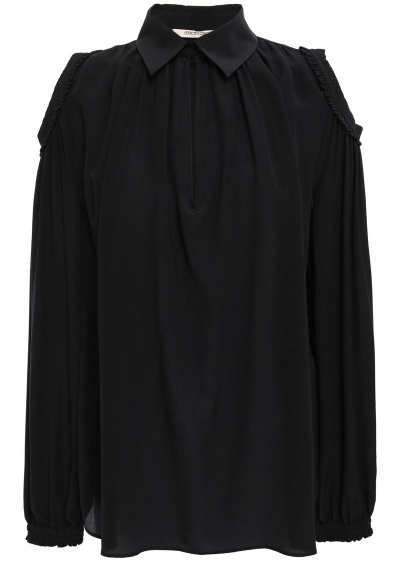 Roberto Cavalli Woman Cold-shoulder Silk Crepe De Chine Blouse Black