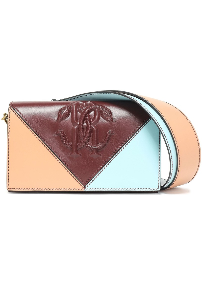 Roberto Cavalli Woman Color-block Embossed Leather Shoulder Bag Burgundy