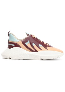 Roberto Cavalli Woman Color-block Leather Sneakers Burgundy