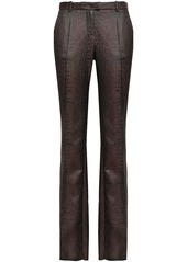 Roberto Cavalli Woman Croc-effect Jacquard Slim-leg Pants Chocolate
