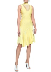 Roberto Cavalli Woman Crochet-trimmed Fluted Knitted Dress Pastel Yellow