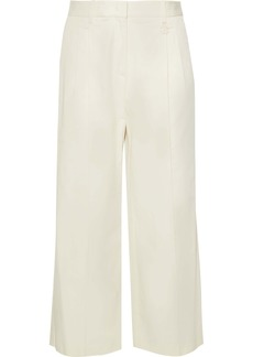 Roberto Cavalli Woman Cropped Cotton-blend Twill Wide-leg Pants Ivory
