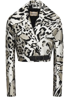 Roberto Cavalli Woman Cropped Leather-trimmed Jacquard Jacket Animal Print