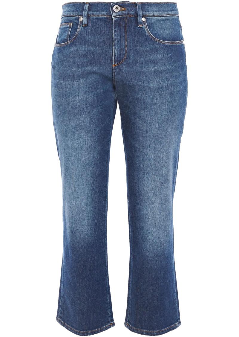 Roberto Cavalli Woman Cropped Mid-rise Slim-leg Jeans Mid Denim