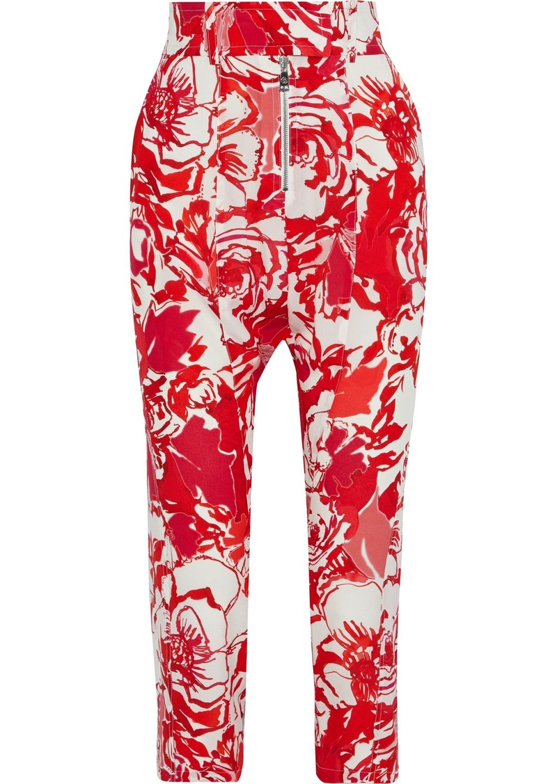 Roberto Cavalli Woman Cropped Printed Silk Crepe De Chine Tapered Pants Red
