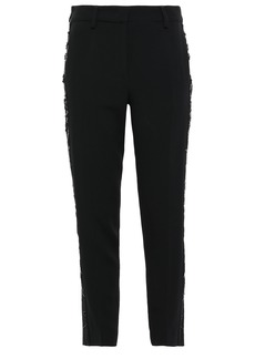 Roberto Cavalli Woman Cropped Sequin-embellished Crepe Slim-leg Pants Black