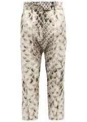 Roberto Cavalli Woman Cropped Snake-print Silk Tapered Pants Animal Print