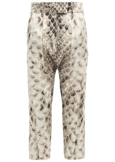 Roberto Cavalli Woman Cropped Snake-print Silk Tapered Pants Animal Print