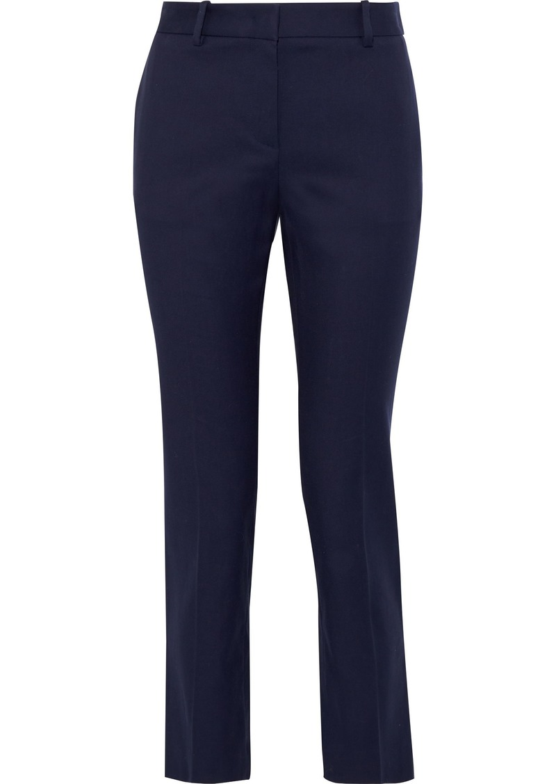 Roberto Cavalli Woman Cropped Cotton-blend Slim-leg Pants Navy