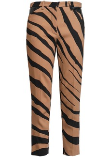 Roberto Cavalli Woman Cropped Zebra-print Crepe Slim-leg Pants Light Brown