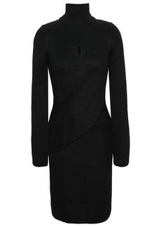 Roberto Cavalli Woman Crossover Ribbed Wool-blend Turtleneck Mini Dress Black