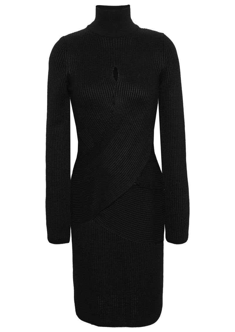 Roberto Cavalli Woman Crossover Ribbed Wool-blend Turtleneck Mini Dress Black