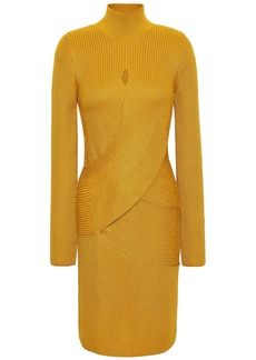 Roberto Cavalli Woman Crossover Ribbed Wool-blend Turtleneck Mini Dress Mustard