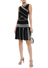 Roberto Cavalli Woman Crossover Sequin-embellished Jacquard-knit Dress Black