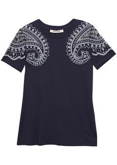Roberto Cavalli Woman Crystal-embellished Cotton-jersey T-shirt Indigo