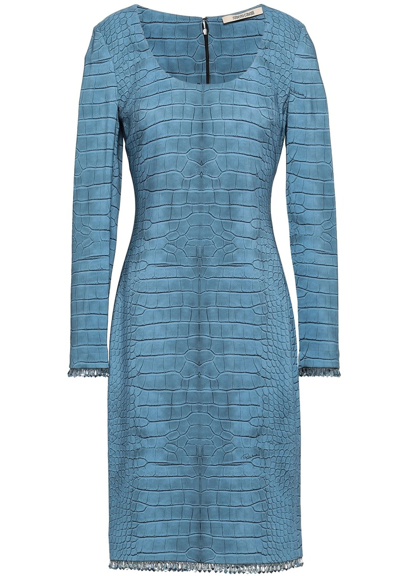 Roberto Cavalli Woman Crystal-embellished Crocodile-print Stretch-jersey Dress Blue