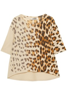 Roberto Cavalli Woman Crystal-embellished Dégradé  Leopard-print Cotton-jersey T-shirt Beige