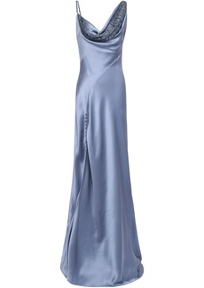 Roberto Cavalli Woman Crystal-embellished Draped Silk-satin Gown Light Blue