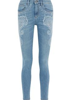 Roberto Cavalli Woman Crystal-embellished Faded Mid-rise Skinny Jeans Light Denim