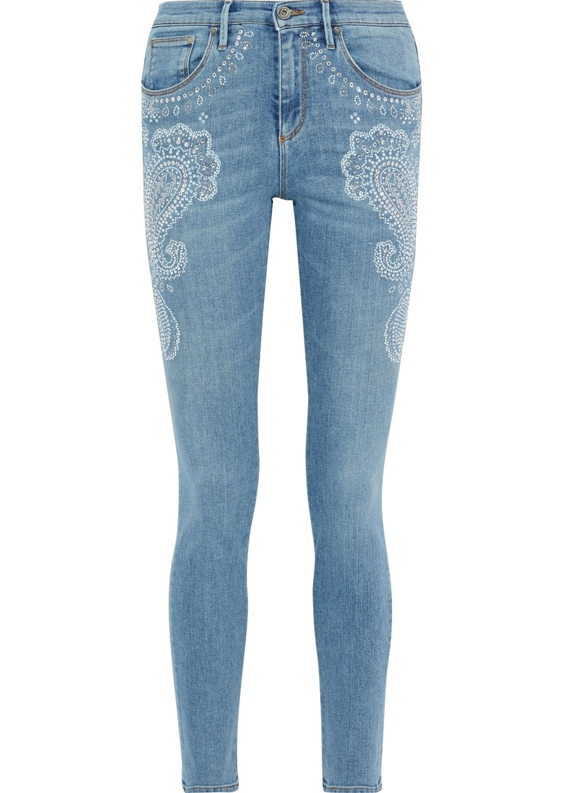 Roberto Cavalli Woman Crystal-embellished Faded Mid-rise Skinny Jeans Light Denim