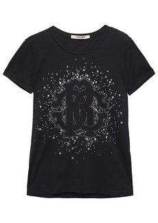 Roberto Cavalli Woman Crystal-embellished Flocked Cotton-jersey T-shirt Black