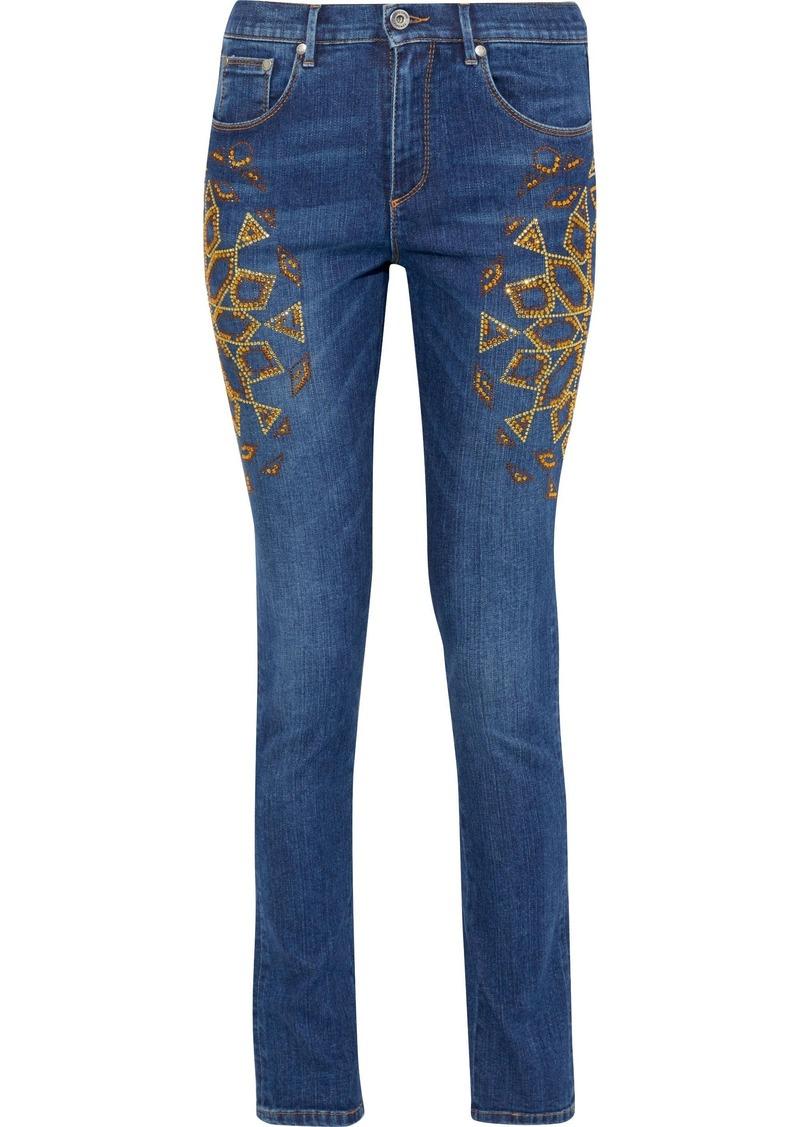 Roberto Cavalli Woman Crystal-embellished Mid-rise Skinny Jeans Mid Denim
