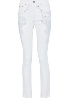Roberto Cavalli Woman Crystal-embellished Mid-rise Skinny Jeans White