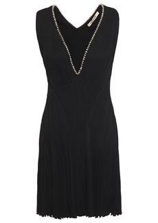 Roberto Cavalli Woman Crystal-embellished Plissé Crepe Mini Dress Black