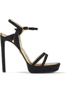 Roberto Cavalli Woman Crystal-embellished Suede Platform Sandals Black