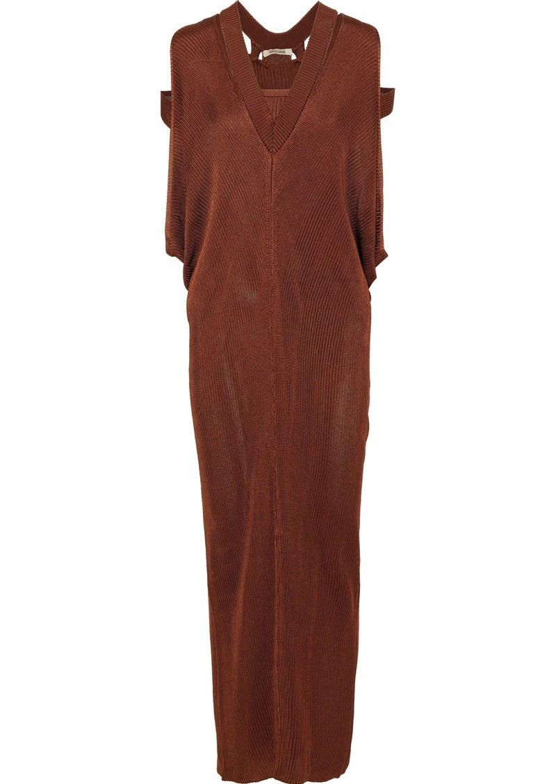Roberto Cavalli Woman Cutout Draped Knitted Maxi Dress Brown