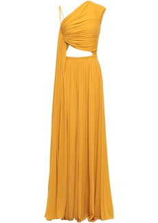 Roberto Cavalli Woman Cutout Draped Stretch-jersey Gown Mustard