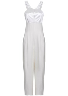 Roberto Cavalli Woman Cutout Duchesse-satin And Woven Jumpsuit White