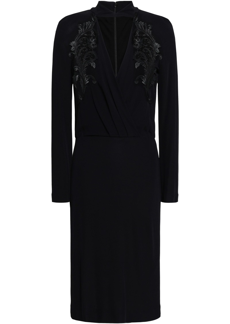 Roberto Cavalli Woman Cutout Lace-trimmed Crepe Dress Black