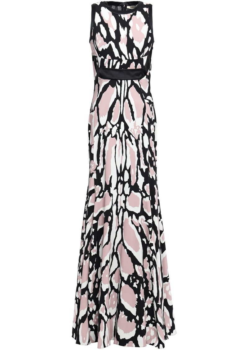 Roberto Cavalli Woman Cutout Leopard-print Jersey Gown Black
