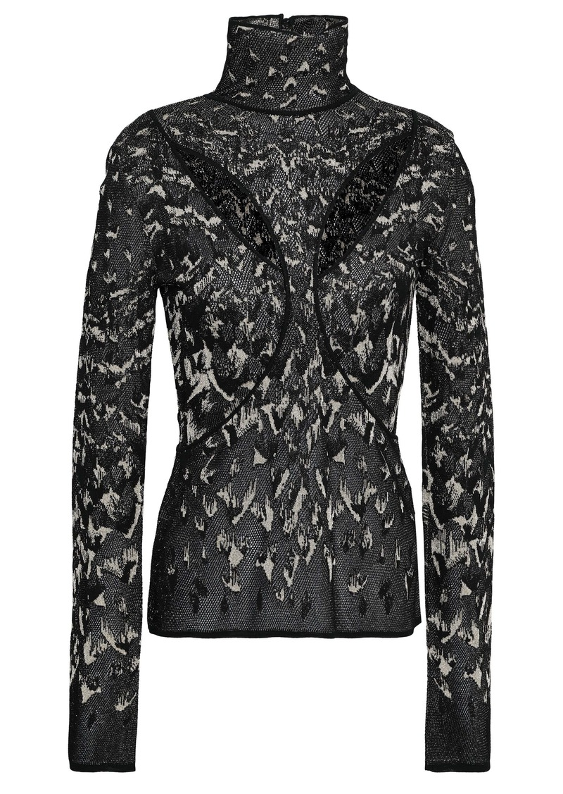 Roberto Cavalli Woman Cutout Metallic Jacquard-knit Turtleneck Top Black