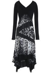 Roberto Cavalli Woman Cutout Paneled Silk-voile And Crepe Dress Black