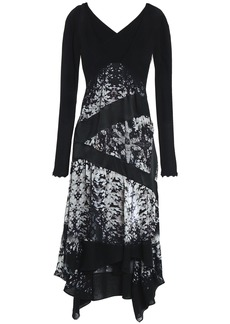 Roberto Cavalli Woman Cutout Paneled Silk-voile And Crepe Dress Black