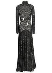 Roberto Cavalli Woman Cutout Pleated Metallic Crochet-knit Gown Black