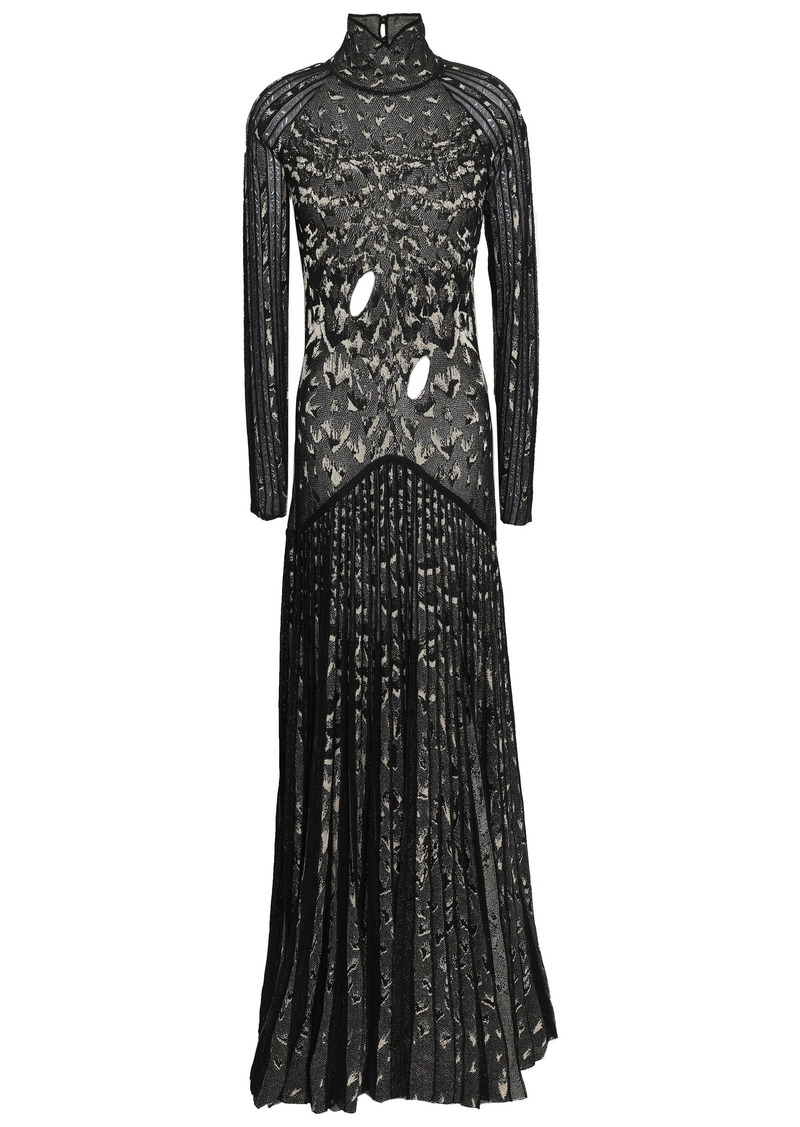 Roberto Cavalli Woman Cutout Pleated Metallic Crochet-knit Gown Black