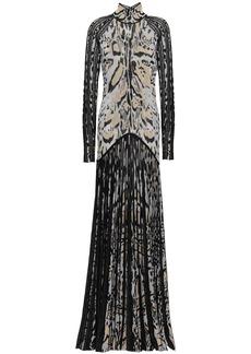 Roberto Cavalli Woman Cutout Pleated Metallic Leopard-jacquard Gown Black