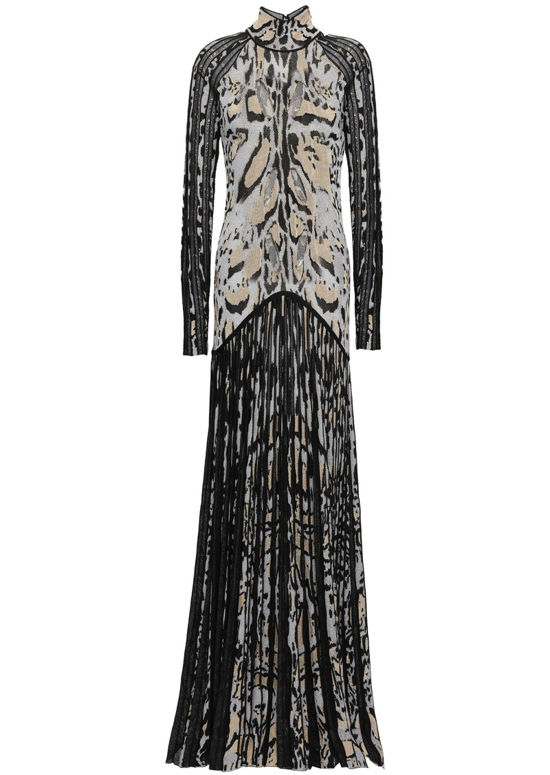 Roberto Cavalli Woman Cutout Pleated Metallic Leopard-jacquard Gown Black