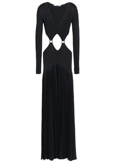 Roberto Cavalli Woman Cutout Pleated Ribbed-knit Gown Black
