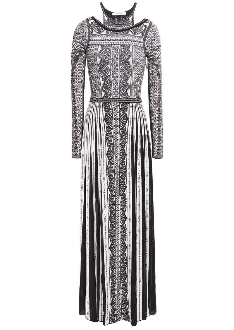 Roberto Cavalli Woman Cutout Pointelle-trimmed Jacquard-knit Maxi Dress Black