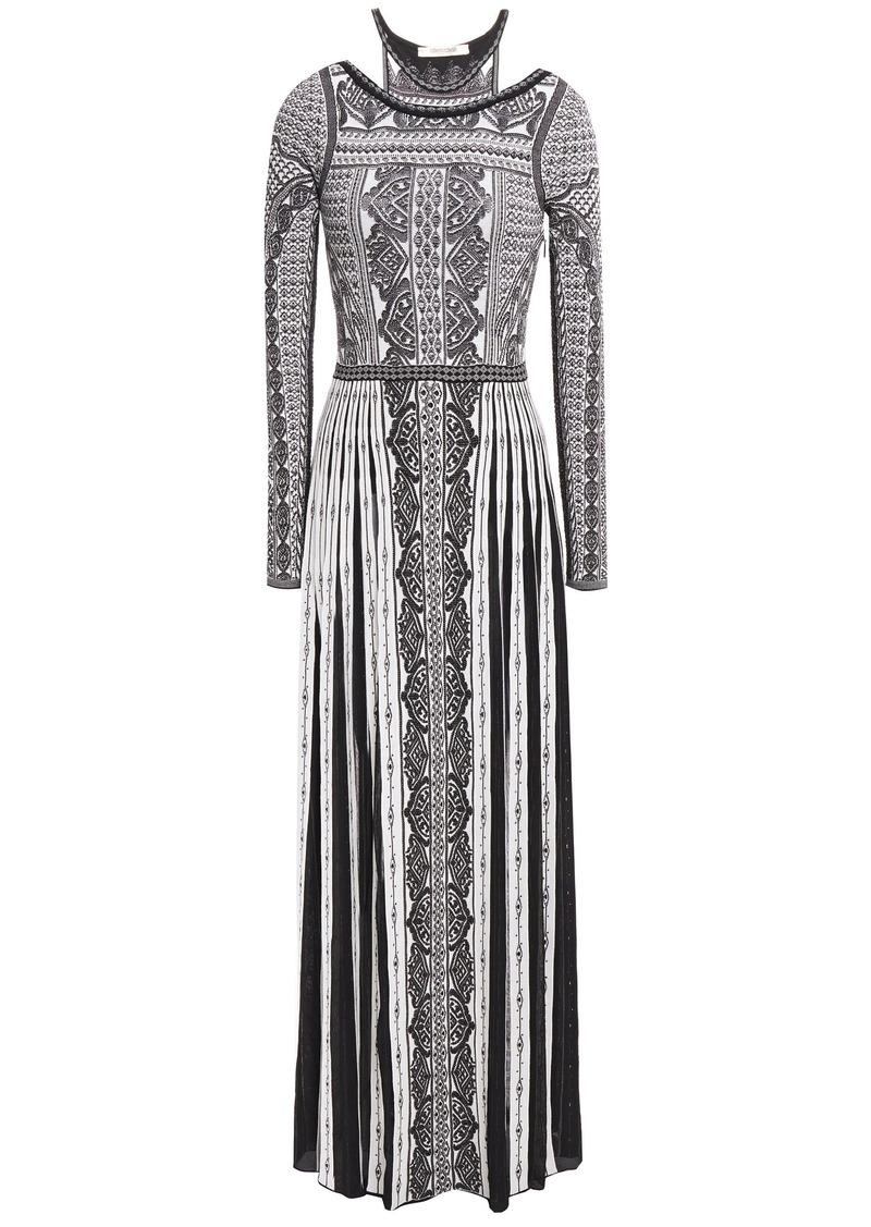 Roberto Cavalli Woman Cutout Pointelle-trimmed Jacquard-knit Maxi Dress Black