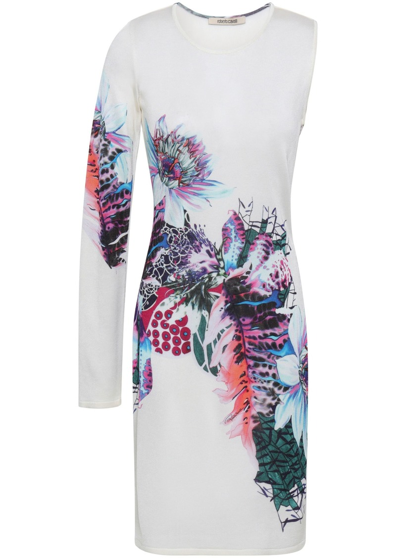 Roberto Cavalli Woman Cutout Printed Knitted Dress Ivory