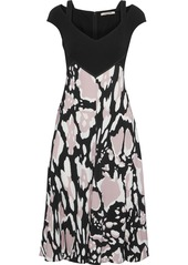 Roberto Cavalli Woman Cutout Printed Stretch-crepe Dress Black