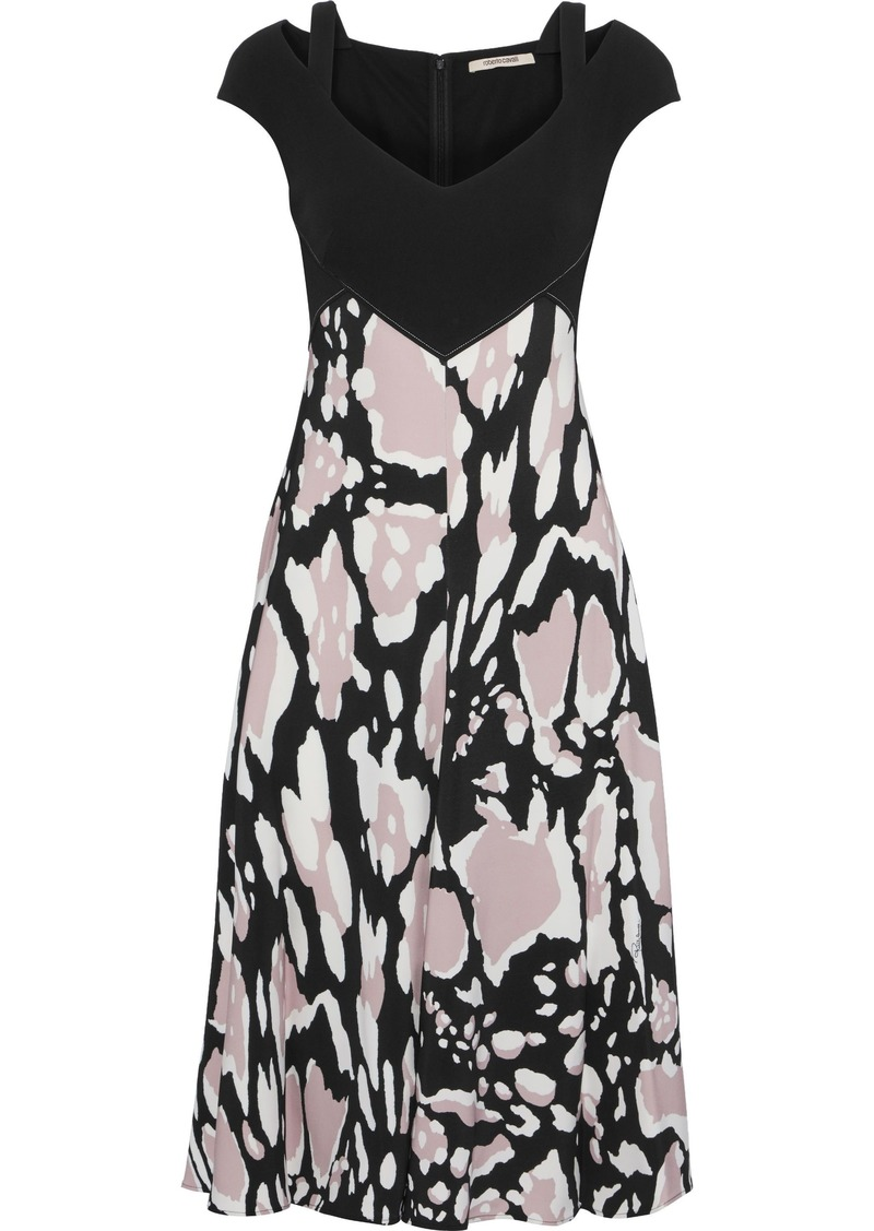 Roberto Cavalli Woman Cutout Printed Stretch-crepe Dress Black
